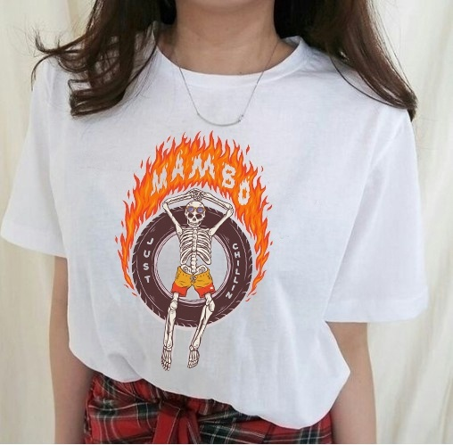 VIP HJN Mambo Skeleton Fire Letter Printed T Shirt Man Women Short Sleeve Cotton Fashion Street Style Tee Tops