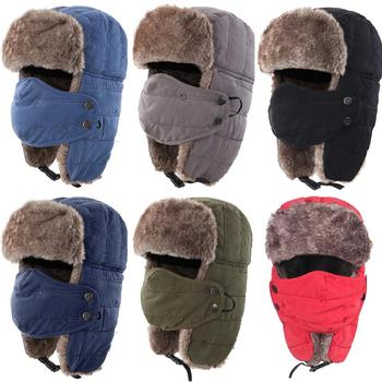 Connectyle Men's Warm Chunky Trapper Hat Removable Windproof Winter Russian Hats with Mask Ushanka Hat