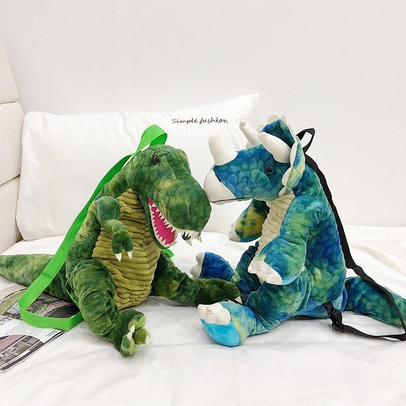 2020 Fashion 3D Dinosaur Backpack Parent-child Creative Cute Animal Cartoon Plush Backpack Dinosaurs Bag For Children Kids Gifts