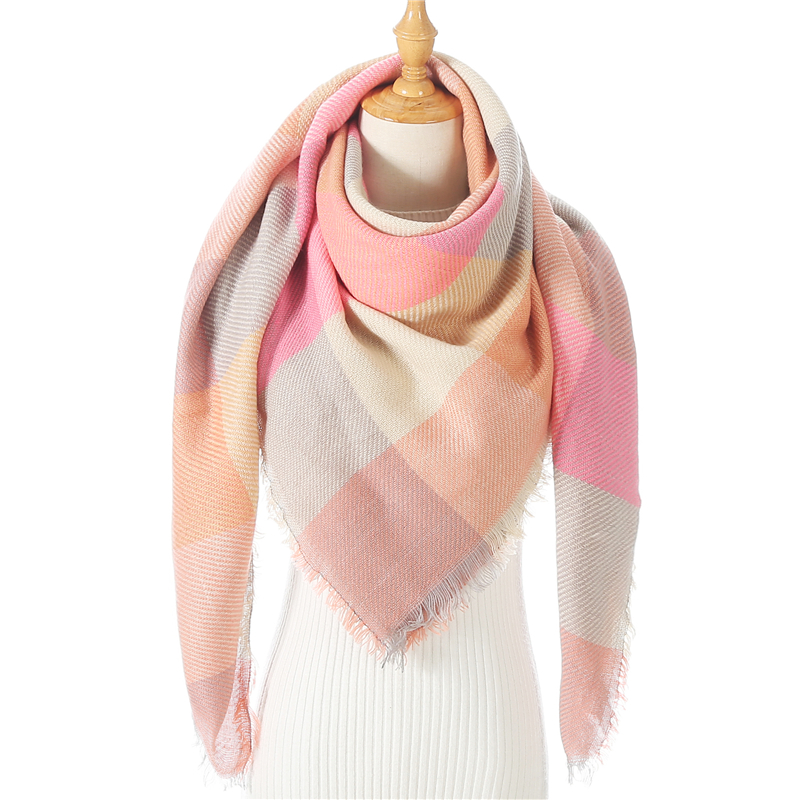 2020 Women Cashmere Winter Scarf Knit Pashmina Bandana Plaid Female Warm Triangle Scarves Blanket Shawls and Wraps Bufanda|Women