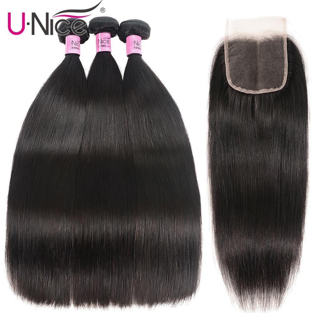 H0914bdb193f544c0909611fa4a4f0593K UNice Hair Transparent Lace With Closure 8-30 Malaysian Straight Hair 3 Bundles with Closure Remy Human Hair Extension Bundles