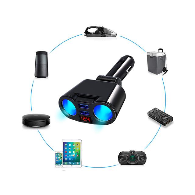 Car Cigarette Lighter USB Splitter Plug Converter For Phone MP3 DVR 5V 3.1A Dual USB Socket Adapter Voltage Monitor Auto Car