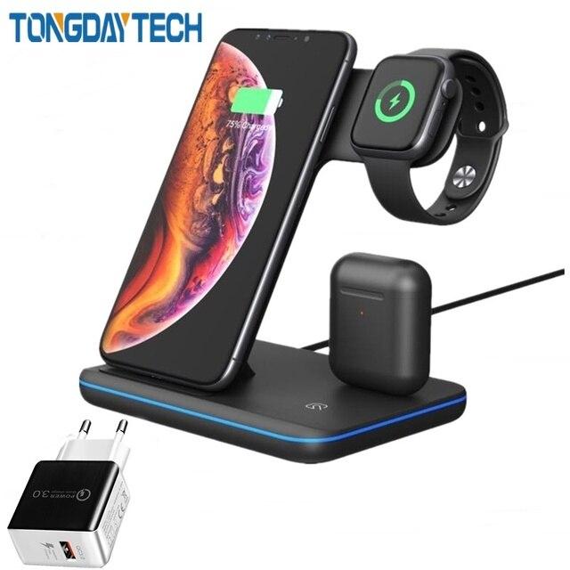 Cargador inalámbrico rápido Tongdaytech 3 en 1 Qi para Apple Watch 5 4 3 2 1 estación de carga rápida para Iphone 8 Pus XS 11 Pro MAX