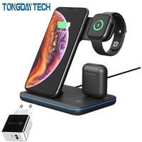 Tongdaytech 3in1 qi carregador sem fio rápido para apple airpods pro assista 5 4 3 2 1 estação doca de carga rápida para iphone 8 xs 11 pro|Carregadores de celular|Telefonia e Comunicação -