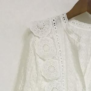Waist-Dress Spring Flower-Waist Palace-Style White Hollow Summer And Cotton Chain-Link