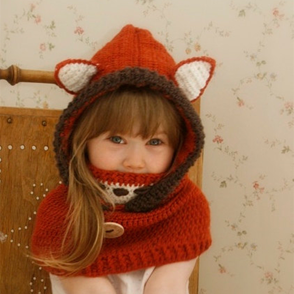 Maylisacc Autumn Winter Children's Thicken Hat With Mask Fox Cape Hat Cartoon Animals For Boys And Girls Warm Knitted Winter Hat