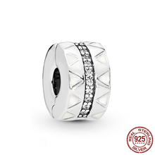 2019 New 925 Sterling Silver Beads Sparkling Jagged Lines Clip Charms fit Original Pandora Bracelets DIY Jewelry For Women charms beads 100% 925 sterling silver sparkling cz fit original pandora bracelets diy jewelry suitable for women