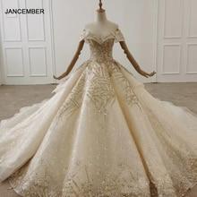 HTL1291 כבוי כתף שמלת ערב 2020 זהב נצנצים Applique נשים שמלת ערב בתוספת גודל קפל תחרה עד בחזרה Vestidos Elegantes
