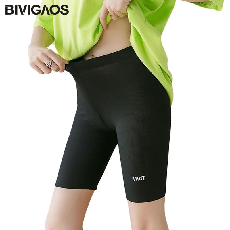BIVIGAOS New Letter Embroidery Shorts Women Summer Thin Cotton Thread Biker Shorts Plus Size Elastic Sport Shorts GYM Clothing