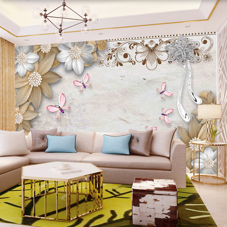 3D Jewelry Large Seamless Mural 3D TV Background Wallpaper Living Room 5D Film And Television Wall Paper Mill