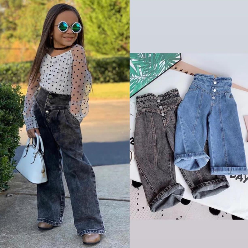 Girls Wide-legged Jeans Spring And Autumn Children Loose Straight Soft Denim Pants Chubby Kid High Waist Jeans 1