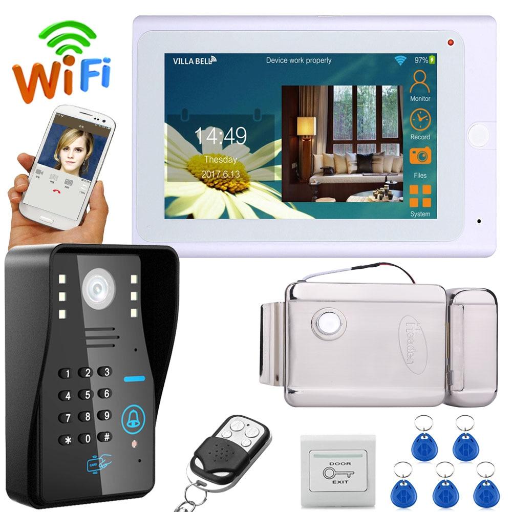 "7"" TFT Wireless Wifi RFID Password Video Door Phone Doorbell Intercom System With Electric Strike Lock+ 1000TVL Camera"