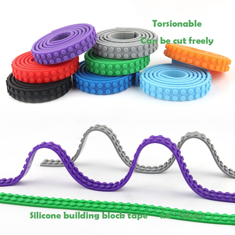 Blocks Strip Tape Toy 2*115 Dots Silicone Tape Strip Base Plate Bendable Flexible Soft DIY Building Plastic Loops Adhesive Tape