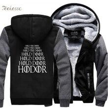 Game of Thrones House Stark HODOR Hold Door Sweatshirts Hoodie Men 2018 Winter Fleece Zipper Hooded Thick Hoodies Slim Clothes