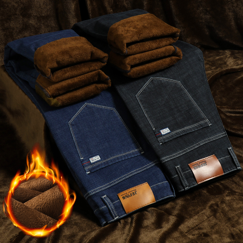 Plus Size 40 42 44 Winter Men's Warm Jeans Classic Style Business Fleece Thick Stretch Denim Trousers Male Brand Black Blue