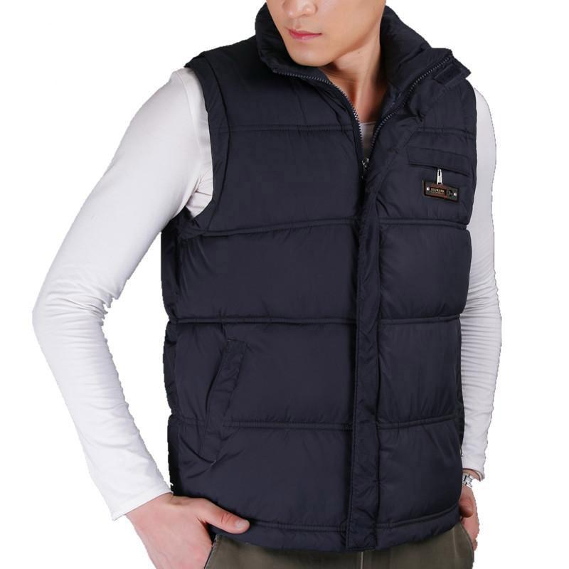 2019 Bestseller Winter Mens Cotton Vest Coats  Mandarin Collar Men Warm Windbreak Casual Waistcoat Plus Size XL-5XL 4 Color