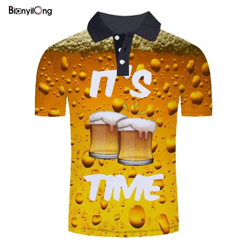 BIANYILONG 2019 new Summer men   polo   shirt men short sleeve 3D beer printed   polos   mens shirts tops   polos   shirt   polo   homme   polo