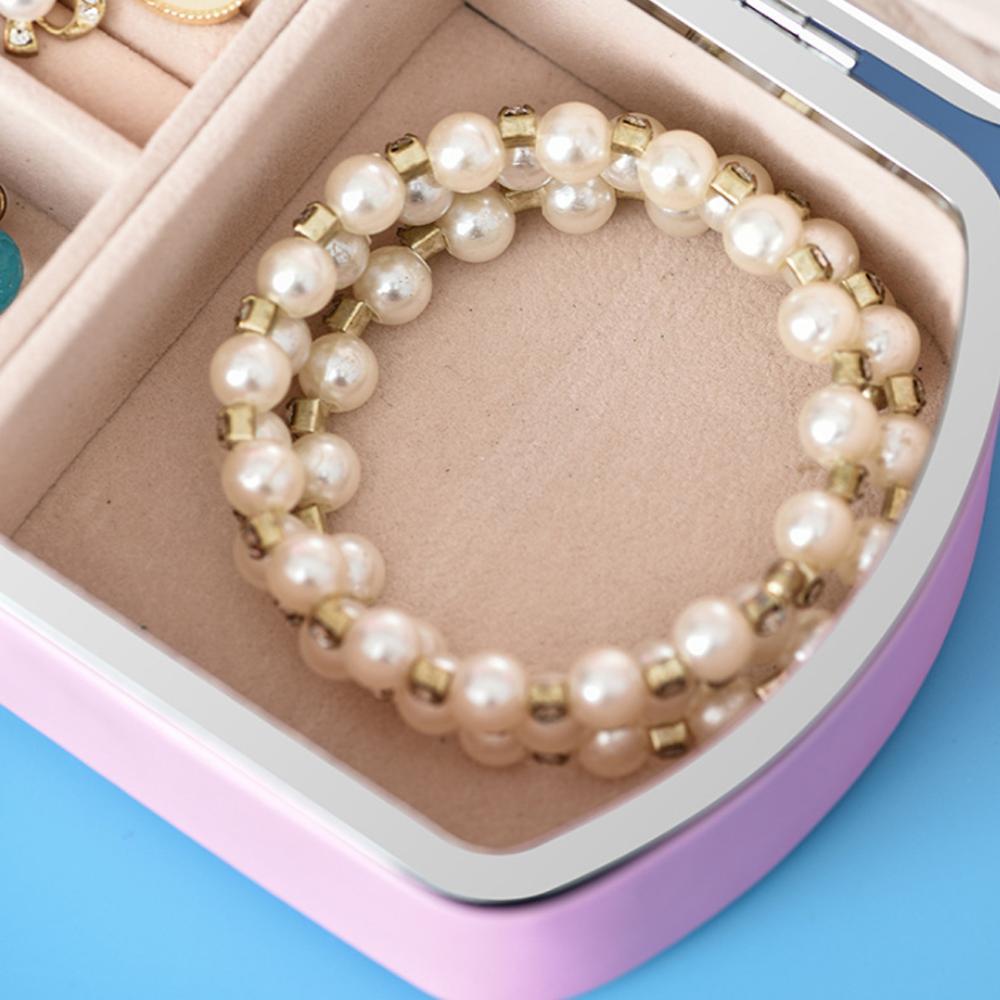 PU Girl Jewelry Box Organizer Travel Jewerly Storage Box Double Layer Earing Necklace Ring Box Sundries