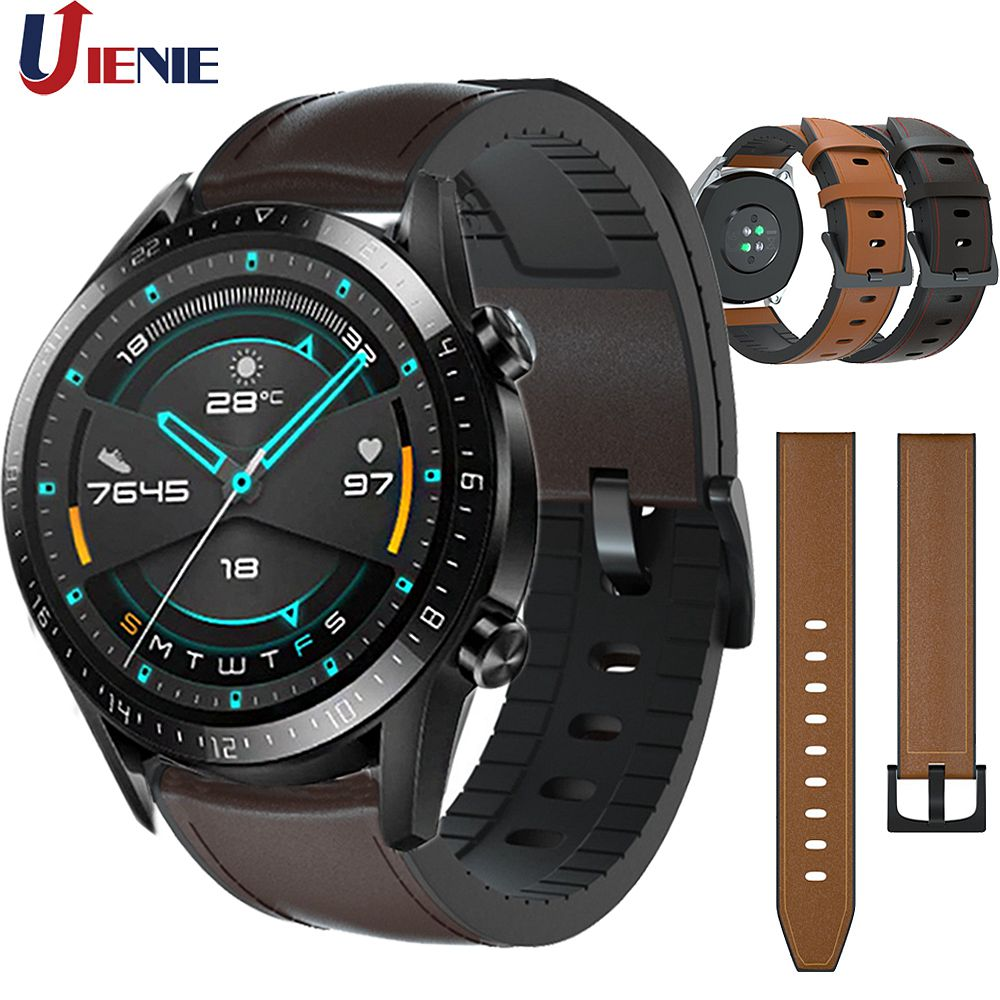 Leather+Silicone Strap Watchband For Huawei Watch GT2 /GT/Active/46mm Smart Bracelet Band 22mm Wristband For HuaweiHonor Magic
