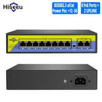 Hiseeu 48V 8 Porte Switch POE con Ethernet 10/100Mbps IEEE 802.3 af/a per IP macchina fotografica/CCTV Sistema di Telecamere di Sicurezza/Senza Fili AP ft