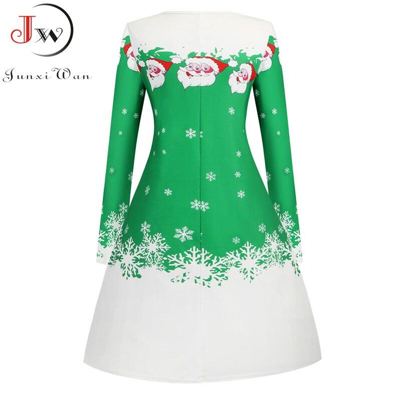 Women White Santa Claus Print Christmas Dress Winter Long Sleeve Xmas Party Casual Elegant Vintage A-line Midi Dresses Vestidos 2
