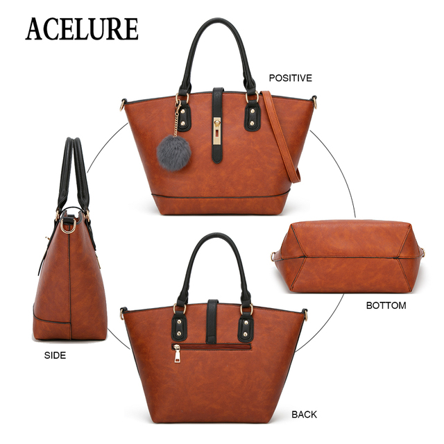 ACELURE Designer Women Handbag Female PU Leather Bags Handbags Ladies Portable Shoulder Bag Office Ladies Hobos Bag Female Totes