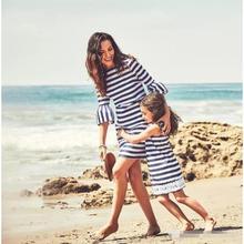 Madre e Hija Verano Cuello Redondo Manga Corta Rayas Partido de Tarde Vestido Mujer Niña Dress Familia Fiesta