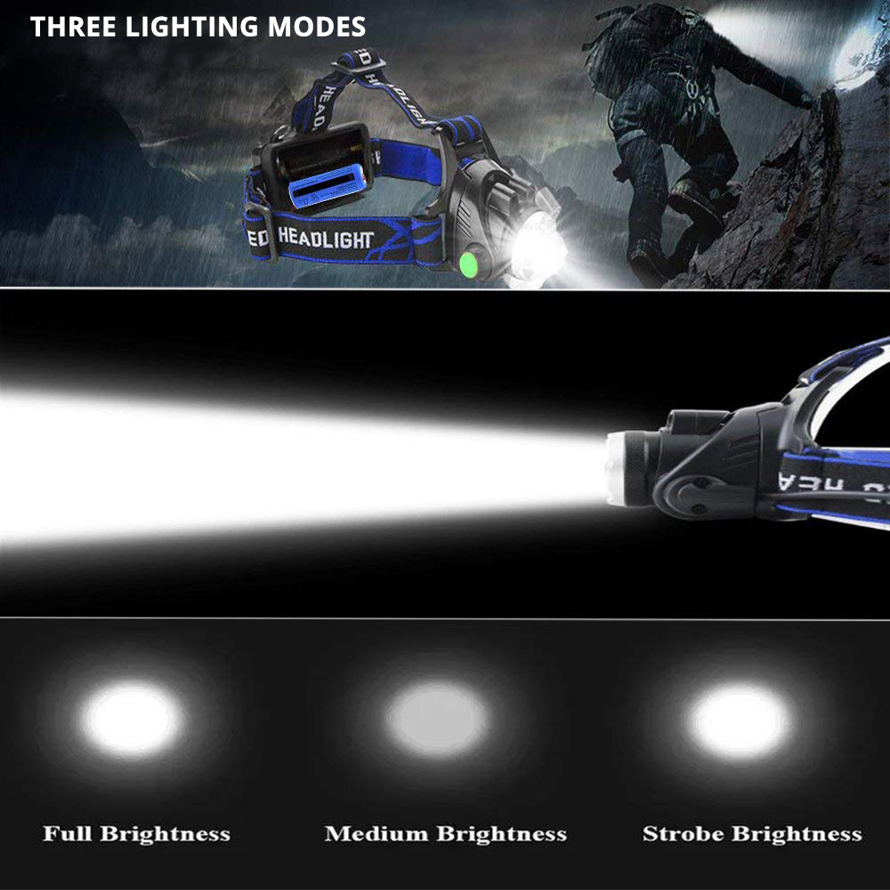 cheapest BORUiT RJ-2166 4000LM T6 LED Headlamp 3-Mode Zoom Headlight Waterproof Head Torch for Camping Hunting Flashlight by AA Battery
