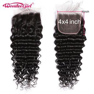 Бразильские человеческие волосы Remy 4x4, глубокая волна, предварительно отобранные волосы, 4x4, кружевное закрытие, свободная средняя три части...