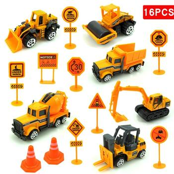 16Pcs/Set Mini Excavator Engineering Car Vehicle Road Sign Model Kids Vehicles Carrier Truck Cars Toys Gifts For Children Boys image