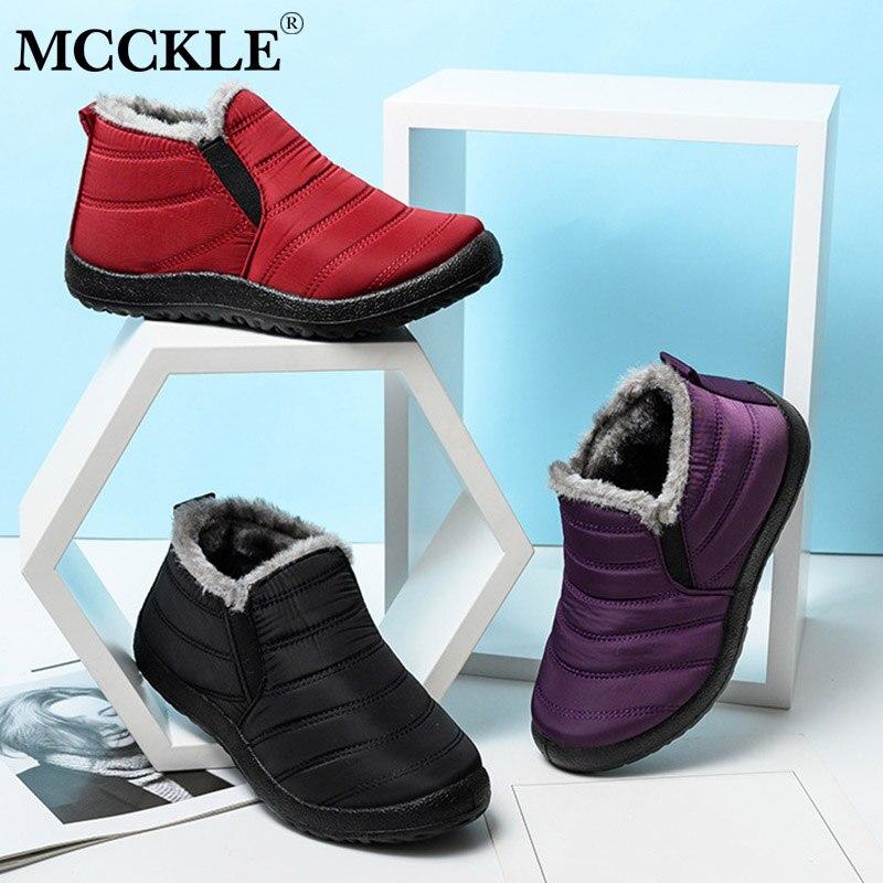MCCKLE/зимние ботинки; Женская обувь; Теплые плюшевые ботильоны на меху; Зимние женские слипоны на плоской подошве; Повседневная обувь; Водонеп...