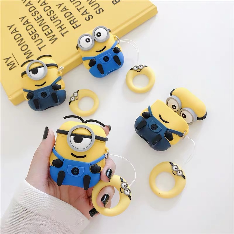 Silicone Minions Cartoon Airpods Case Cover With Keychain For Apple Airpods Protector Case