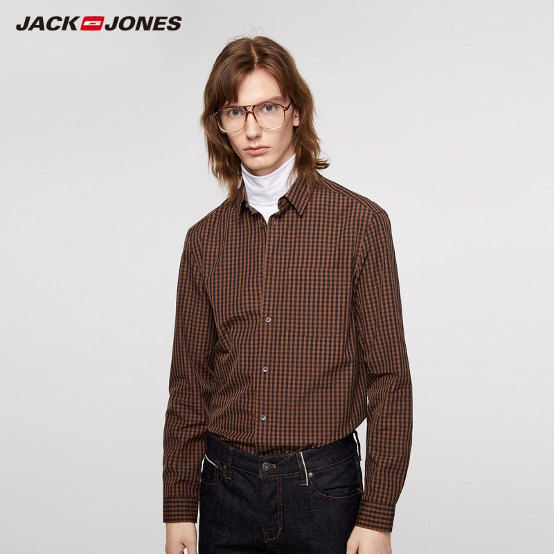 JackJones Men's Slim Fit Business Casual 100% Cotton Plaid Long-sleeved Shirt Menswear| 219305522