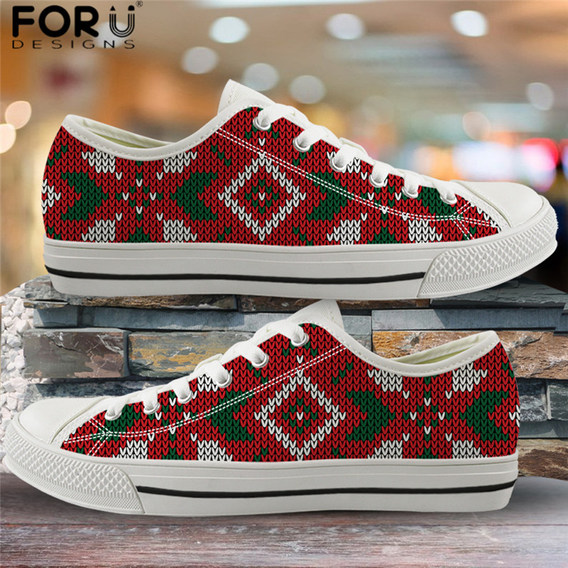 FORUDESIGNS Merry Christmas Design Vulcanized Shoes Fashion Women Canvas Sneaker Shoes Ladies Red Flat Shoes Gift for Teen Girls image
