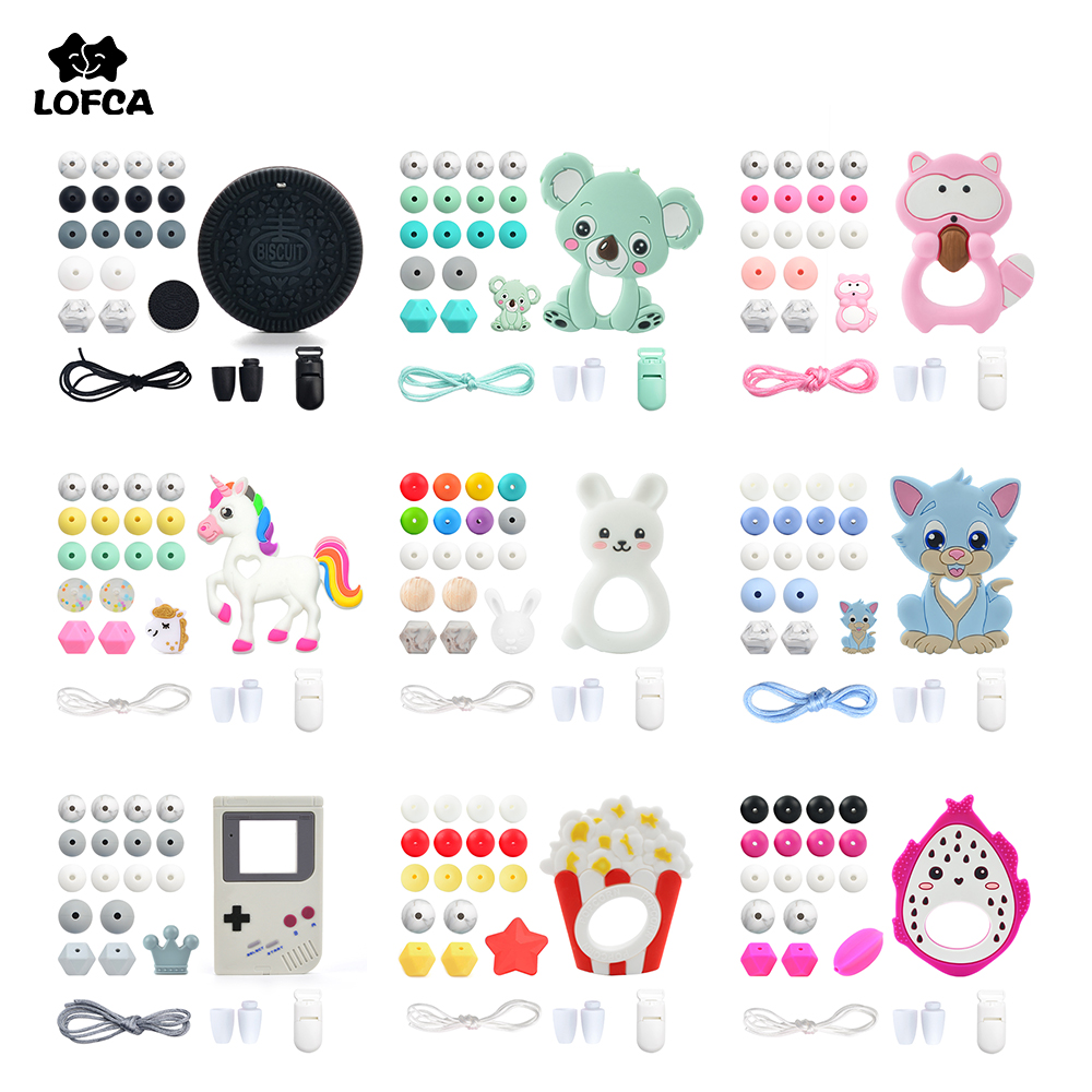 LOFCA Silicone Teether Wood Beads Set BPA Free DIY Baby Teething Necklace Toy Cartoon Koala Raccoon Pacifier chain Clip title=