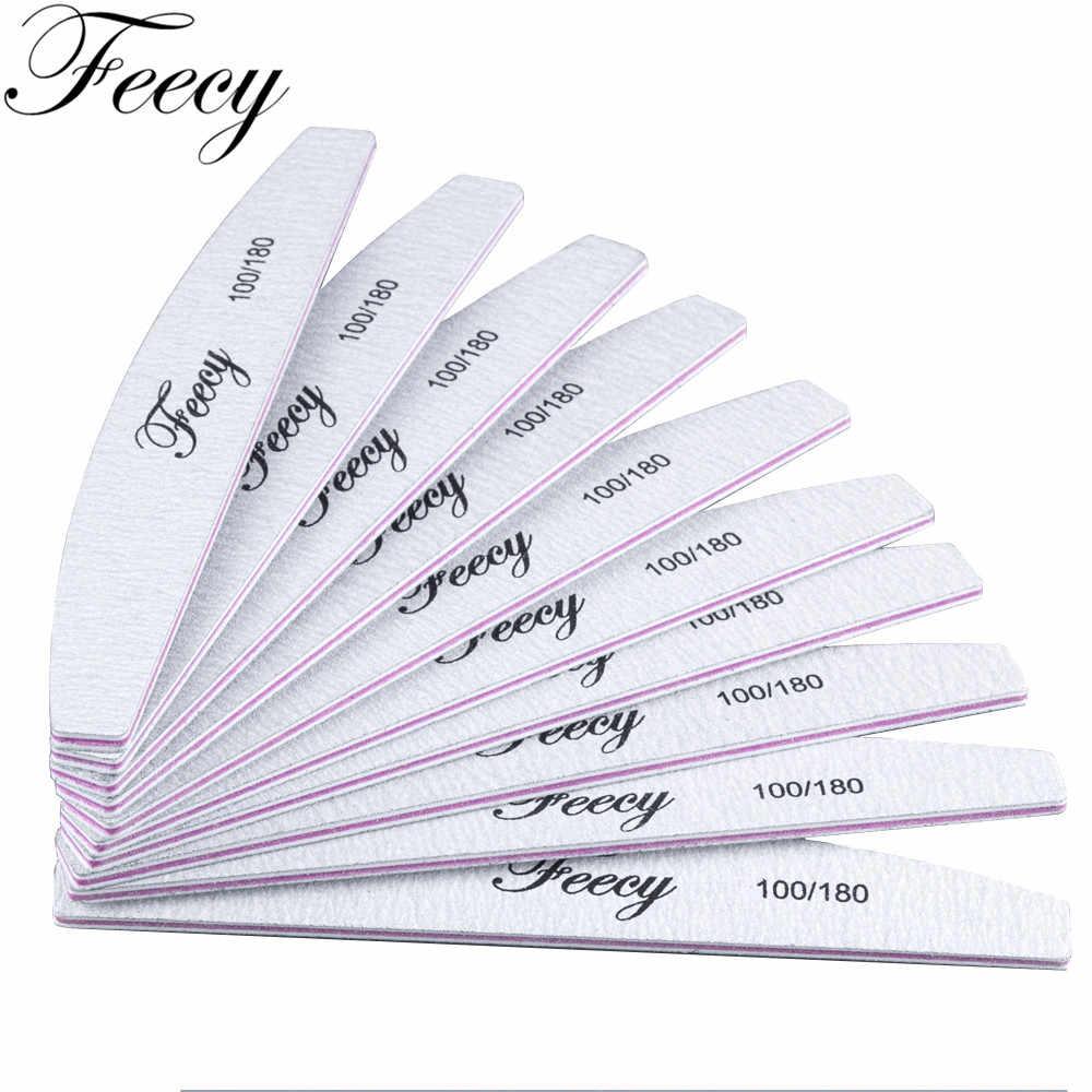 Пилки для ногтей для маникюра, 10 шт./лот, 100/180 прочная Толстая наждачная бумага, прочная Полировочная песчница, аксессуары для дизайна ногтей