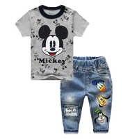 Комплекты одежды для мальчиков весенняя одежда для маленьких девочек с Минни и Микки хлопковая футболка + джинсовые штаны, комплект детской...