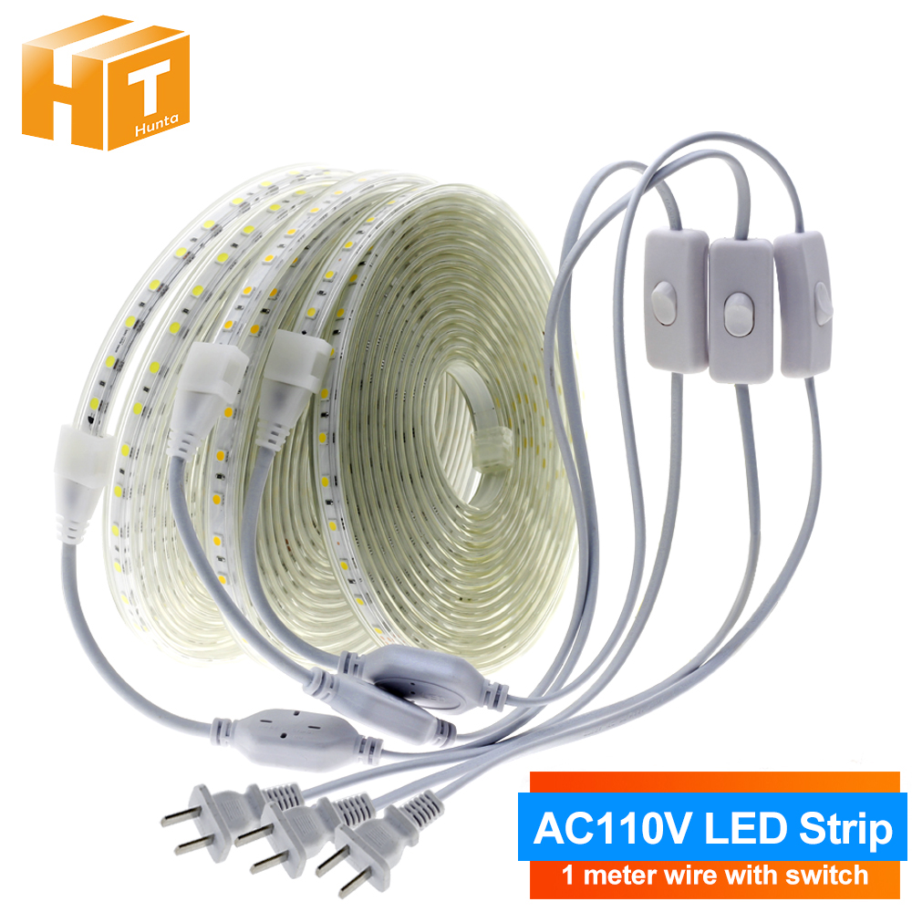 110V LED Strip 5050 High Safety High Brightness 8W/m 3000K 4000K 5000K Flexible LED Light Outdoor Waterproof LED Strip Light.