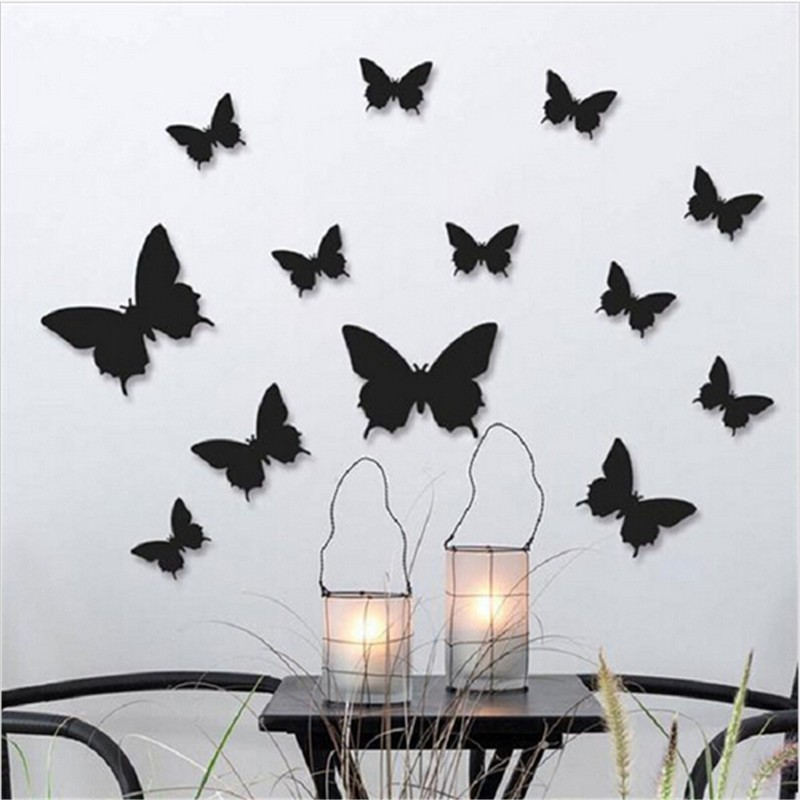 12pcs/lot 3D Solid Color Butterfly Wall Stickers Wedding Blue Yellow Beautiful Butterflies For Kids Room Wall Decals Decoration