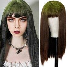 Длинный синтетический парик коричневого цвета с зеленой челкой маття для женщин, коричневый, зеленый, парик из высокотемпературного волокн...