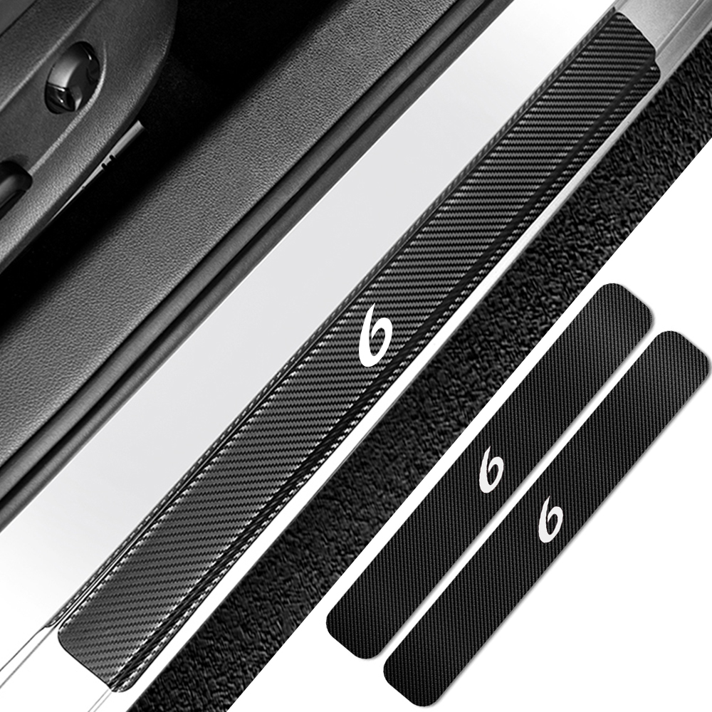 For FABIA 4D M Car Pedal Covers Door Sill Protectors Entry Guard Scuff Plate Trims Anti-Scratch Reflective Carbon Fiber Stickers Auto Accessories Exterior Styling 4Pcs White