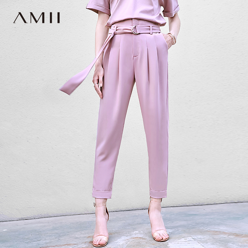 Amii Minimalist Office Lady Suit Pants Summer Women Solid High Waist Loose Female Straight Pants 11970229