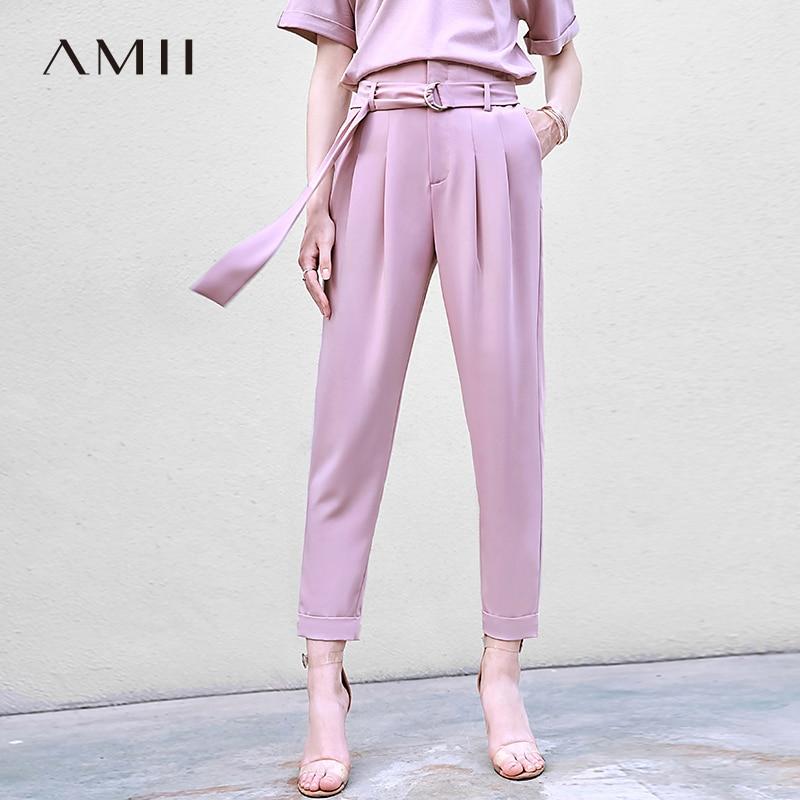 Amii Minimalist Office Lady Suit Pants Summer Women Solid High Waist Loose Female Straight Pants 11970229