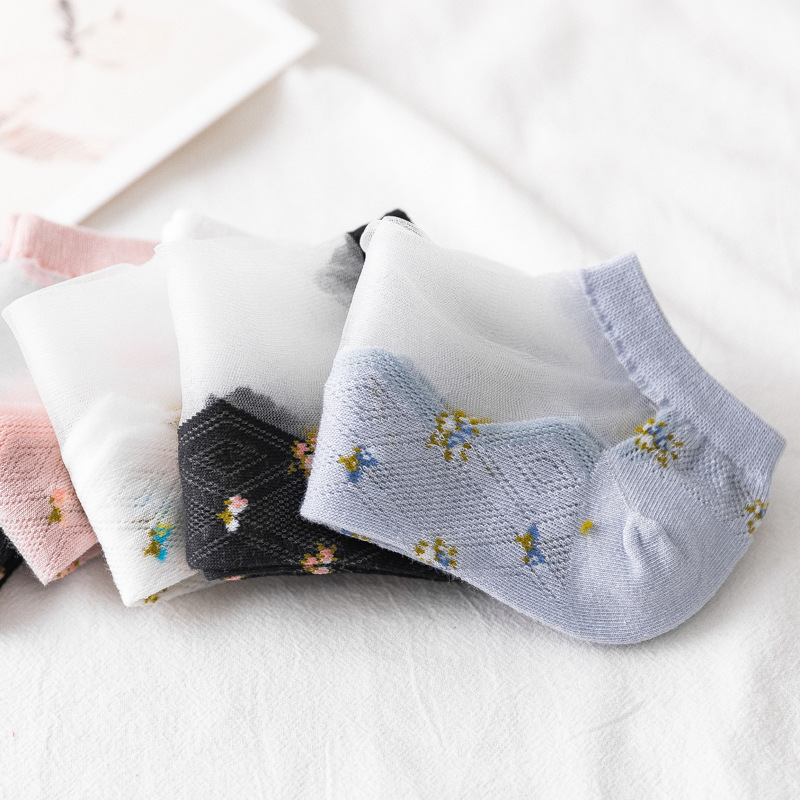 Women Small Floral Silk Stockings Cotton Sexy Lace Mesh Fishnet Transparent Elasticity Ankle Thin Socks 2pair=4pcs X348