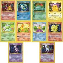 10 stks/conjunto 1996 eerste editie pokemon pikachu charizard venusaur squirtle mewtwo geen jogo flash coleção kaarten kerstcadeau