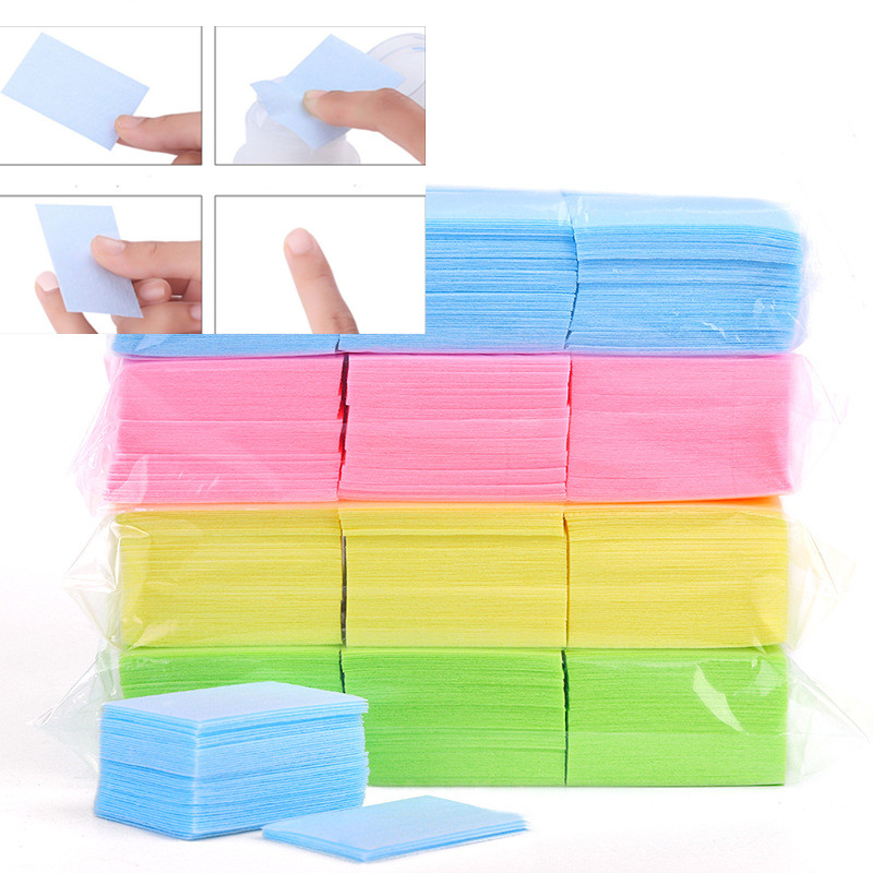 Hot Colorful 1000 Pcs Lint-Free Wipes Napkins Nail Polish Remover Gel Nail Wipes Nail Cutton Pads Manicure Pedicure Gel Tools