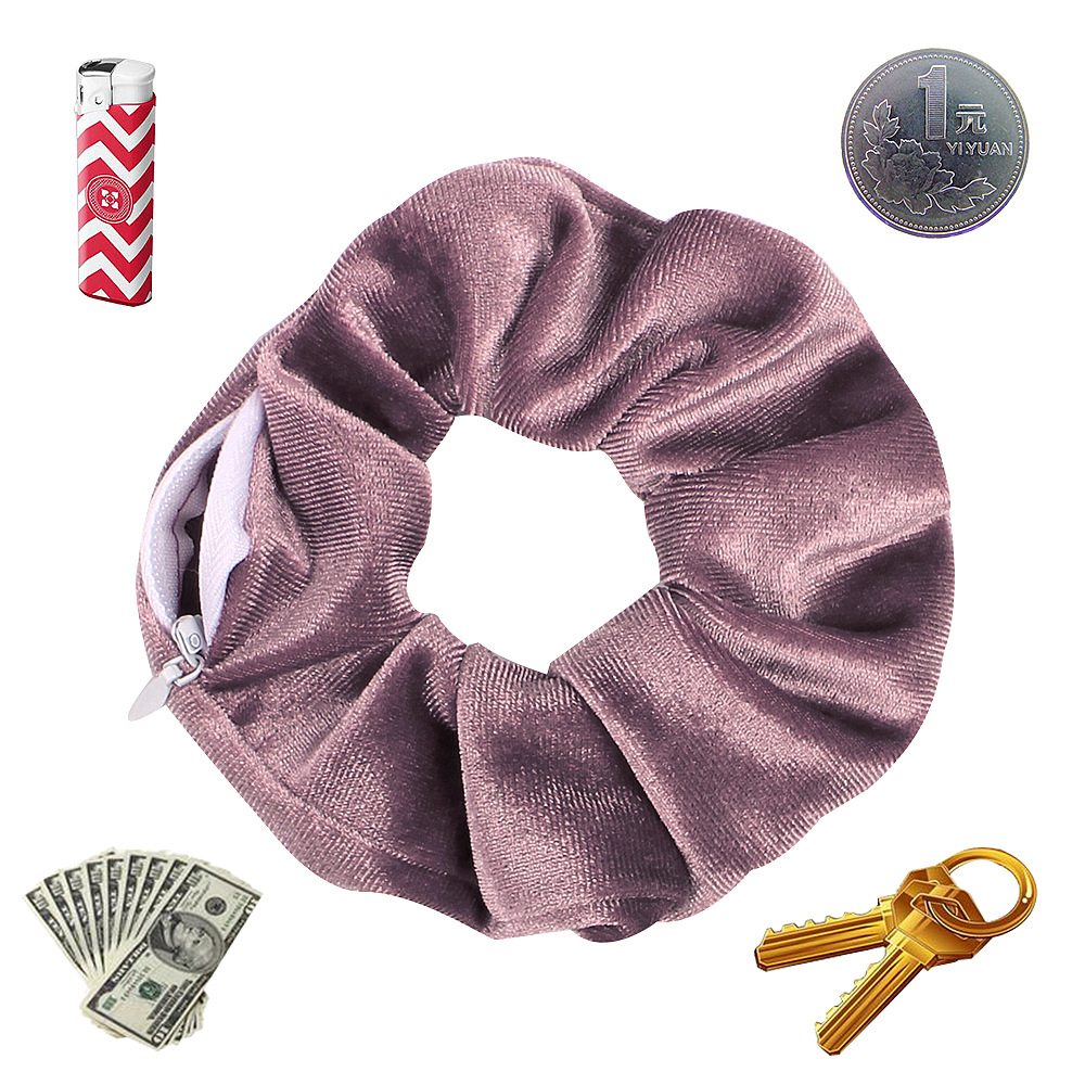 2020 New Year Novelty Designs Zipper Scrunchies Women Creative Velvet Hairbands Brand Quality Pocket Scrunches With Zip