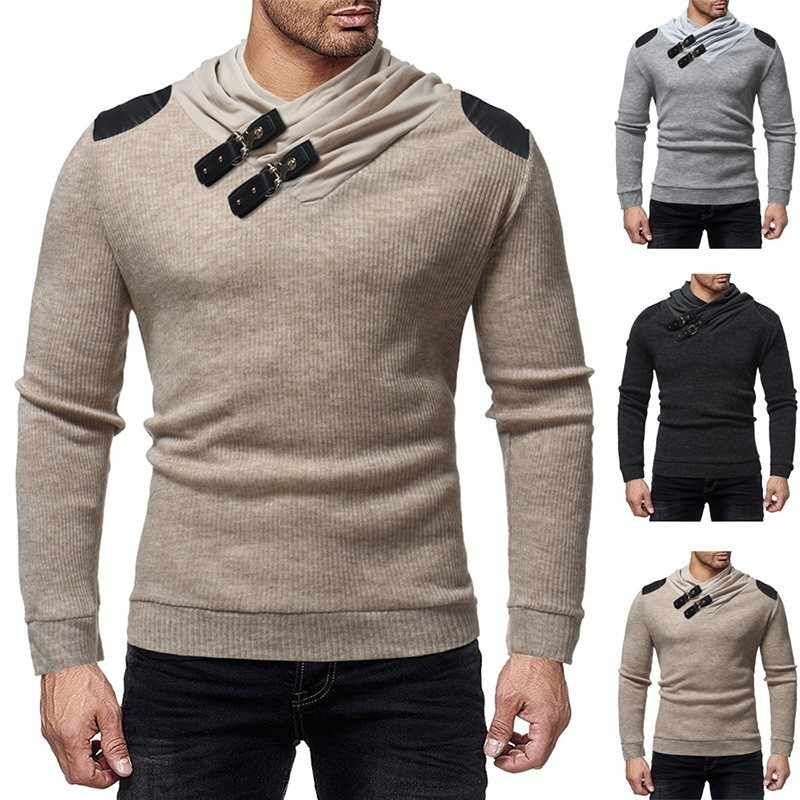 Zogaa 2019 가을 남성 터틀넥 스웨터 풀오버 겨울 남성 슬림 패치 워크 스웨터 하이 스트리트 pu 버튼 니트 풀오버
