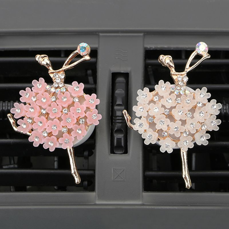 1 Set Car Air Freshener Solid Perfume Tablet Elegant Shinning Ballet Girl Aroma Diffuser Outlet Scent Ornament for Auto Decor