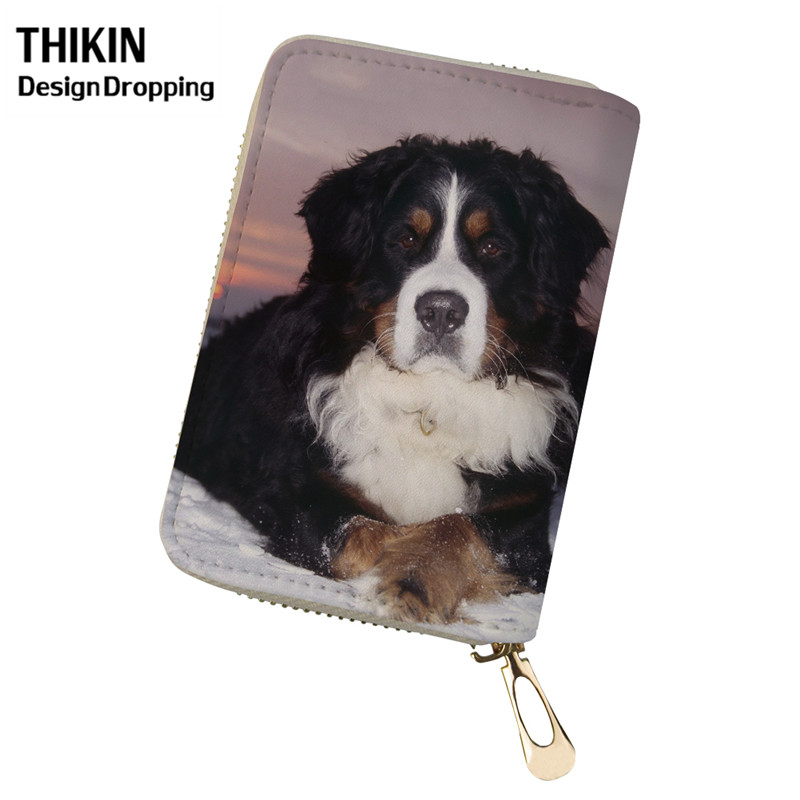 THIKIN Cute Bernese Mountain Dog Women Wallet Credit Card Holders Spanish Dog PU Leather Travel Passport Holder For Ladies 2019